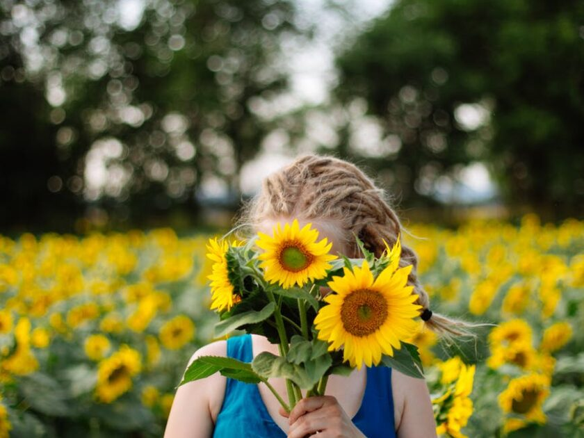 woman with bright blooming sunflower in field